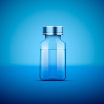 의료 앰플, 파란색 배경에 개체입니다. 벡터 일러스트 레이 션