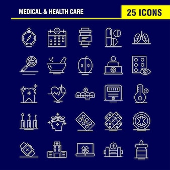 의료 및 건강 관리 라인 아이콘