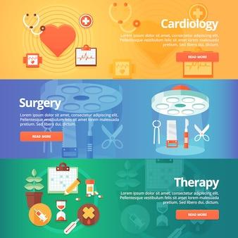 Набор медицинских и здоровья. лечение сердца. кардиология. операция. лечебная терапия. современные иллюстрации. горизонтальные баннеры.