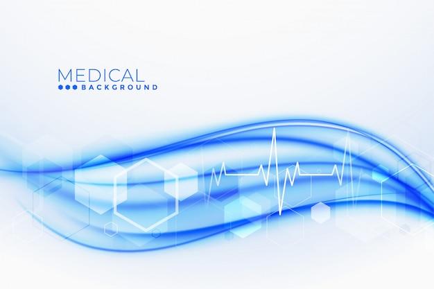 Медицина и здравоохранение фон с линиями сердцебиения