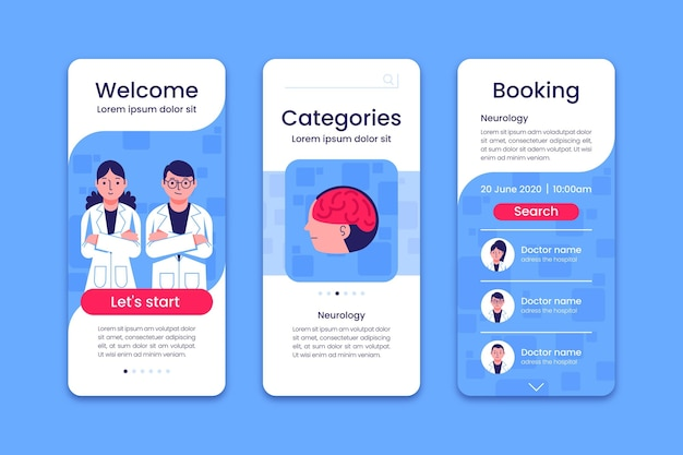 Medical appointment booking app on screens