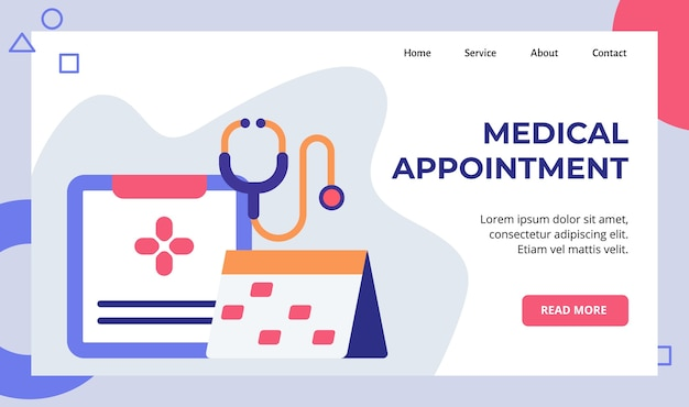 Medical appointment register schedule calender campaign for web website home homepage landing page Premium Vector