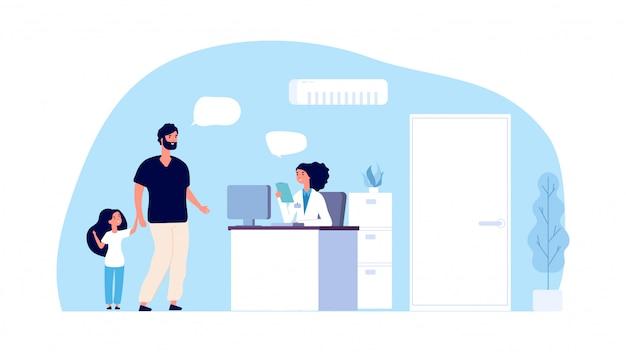 医療アシスタントのコンセプトです。病院のオフィス。父と娘はクリニックの管理者と話します。病院スタッフと患者キャラクター