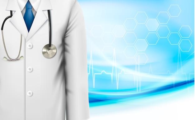 Медицинский фон с белым халатом лаборатории врача и стетоскопом