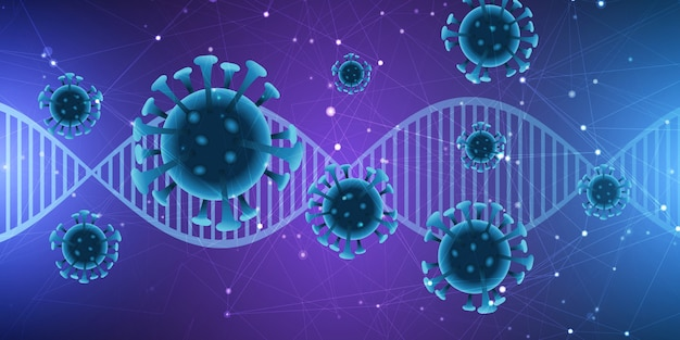 Dna 가닥과 추상 바이러스 세포와 의료 배경