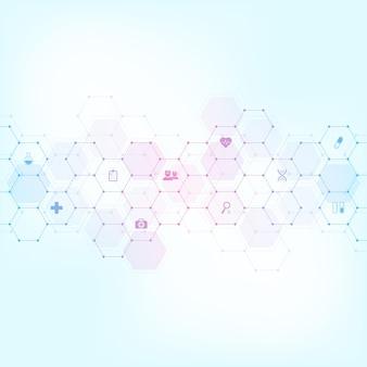 평면 아이콘 및 기호 의료 배경입니다. 의료 기술, 혁신 의학, 건강, 과학 및 연구에 대한 개념과 아이디어가 있는 템플릿 디자인.