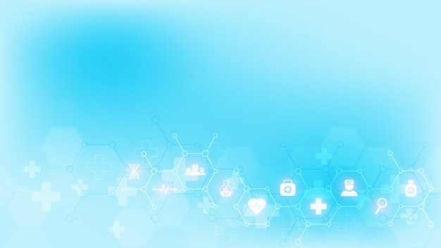 フラットなアイコンと記号で医学的背景。ヘルスケア技術、イノベーション医学、健康、科学、研究のためのコンセプトとアイデアを備えたテンプレートデザイン。