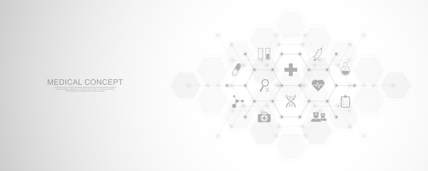 Medical background with flat icons and symbols