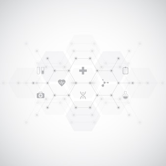 Medical background with flat icons and symbols.