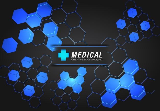 青色でモダンなデザインの医療の背景