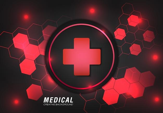 赤い色でモダンなデザインと医療の背景