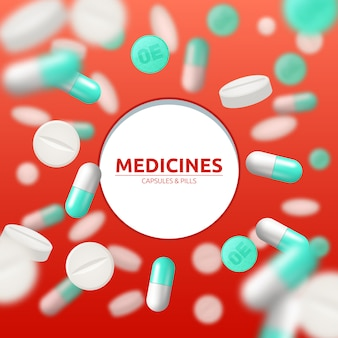 Medical background with white and green pills and capsules