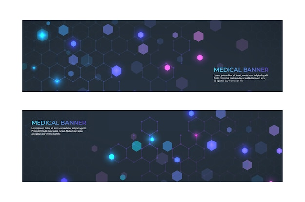 Medical banner concept. medicine service and ambulance emergency abstract banners.