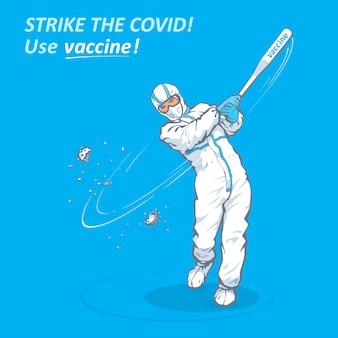 テキスト付きのワクチン接種キャンペーンのための医療バナーデザインcovid使用ワクチンを打つ