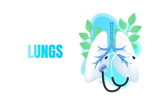 Medical banner lungs, alternative treatment, biology anatomy organ, service help