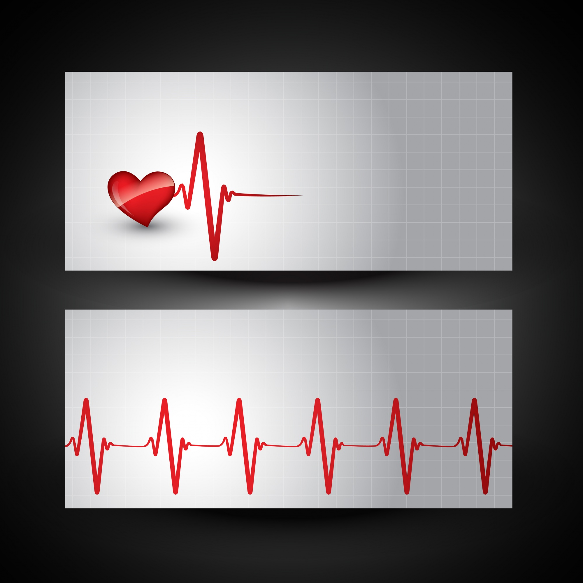 Medical banner with heart beat illustration