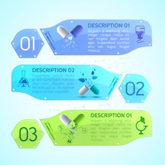 薬用カプセル、添付文書、さまざまな医療品がセットされた医療バナー