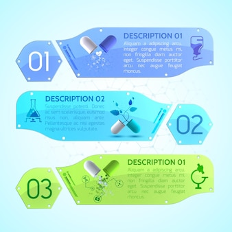 Medical banners set with medicinal capsules, package leaflet and different medical objects
