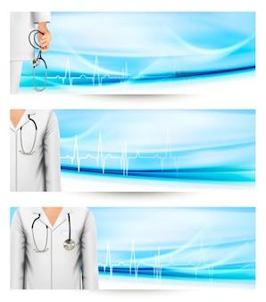 Медицинские баннеры с белым халатом из лаборатории врача и стетоскопом