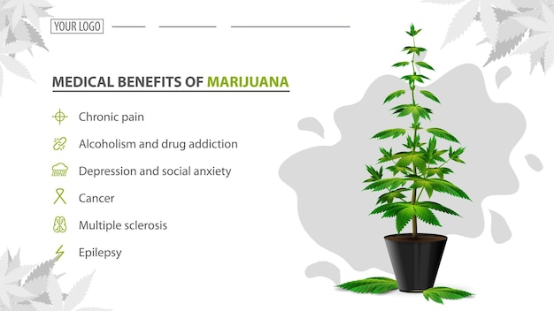 Medical benefits of marijuana, poster with bush of cannabis in a pot