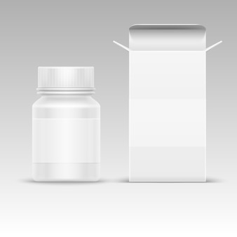 Medical blank packaging paper box and medicine plastic bottle for pills