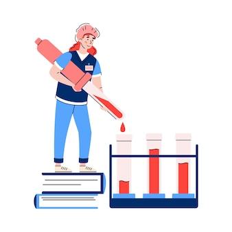 医療血液検査と糖尿病ブドウ糖テストフラットイラスト