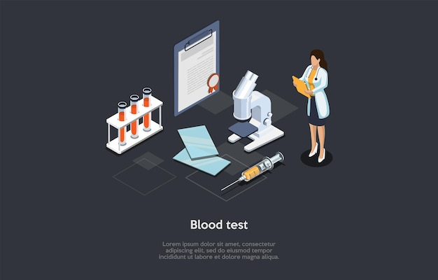 Medical blood test concept illustration on dark background. cartoon style 3d composition. isometric vector design. hospital treatment process. female doctor, documents, microscope, tubes and syringe.