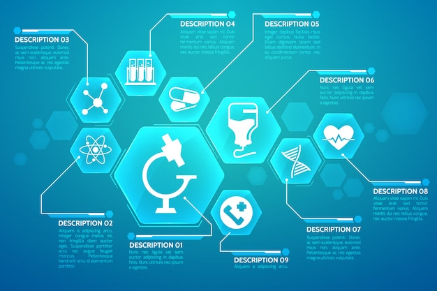 Medical blue poster with treatment and science symbols flat illustration