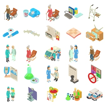 Medical boarding house icon set