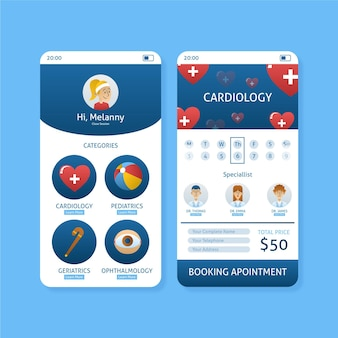 Medical booking app concept