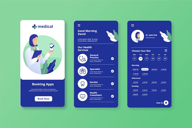 Medical booking app doctor holding a clipboard