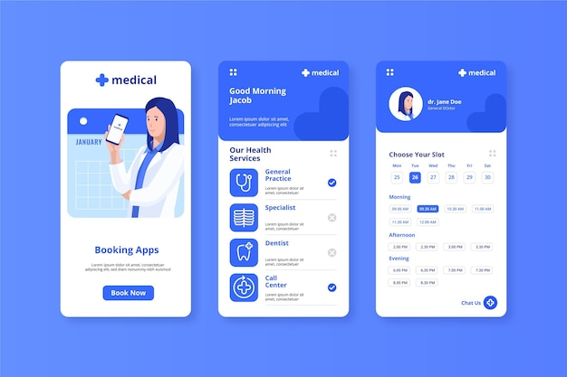 Medical booking app doctor holding mobile phone