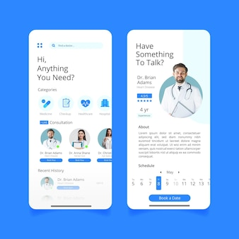 Medical booking app interface concept