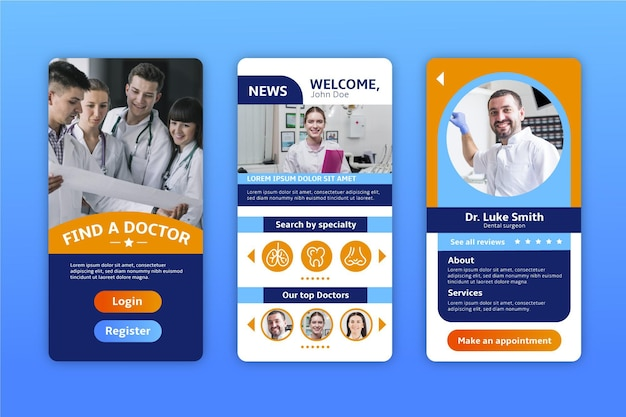 Medical booking app interface design