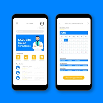 Medical booking application interface