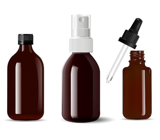 医療用ボトル茶色のガラス化粧品容器、3d