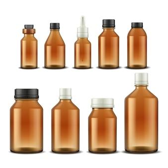 의료 병. 알약 혼합물과 아로마 오일을 위한 현실적인 약국 유리 용기. 다른 뚜껑 세트와 벡터 일러스트 레이 션 약물 및 의료 보조 갈색 병