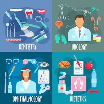 Концепция дизайна квартиры медицинских отделений с иконами стоматологии с инструментами стоматолога, урологии с урологом, инструментами и лечением, офтальмологией