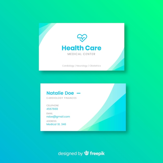 Free Medical Business Card Template With Modern Style Svg