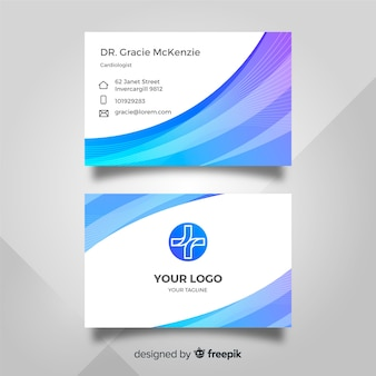 Medical business card template with modern style