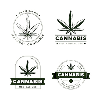 Medical cannabis badges set