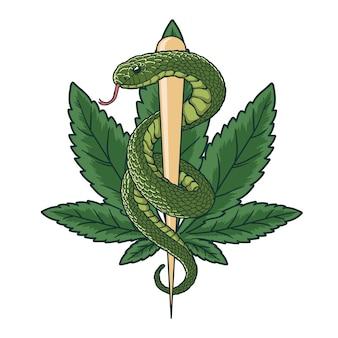 Medical cannabis green snake illustration