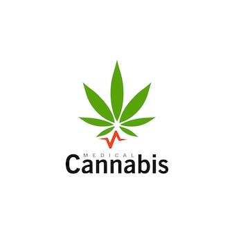 의료 대마초 아이콘 녹색 대마 잎 마리화나 기호 절연 간단한 평면 로고 템플릿 개념