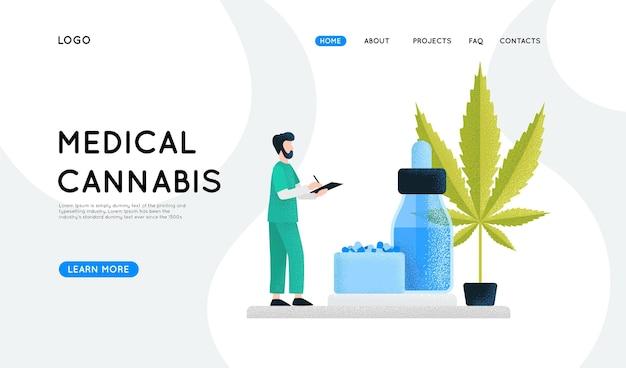 Медицинский каннабис - целевая страница Бесплатные векторы