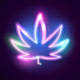 마리화나 잎 빛나는 네온 사인과 의료 대마초 로고.