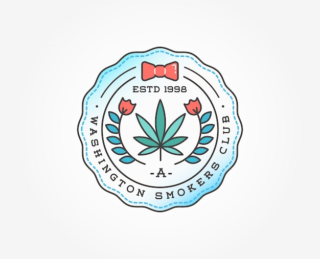 Medical cannabis marijuana badge template
