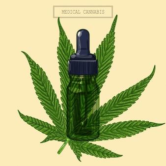 医療大麻マリファナ9先の尖った葉と緑のスポイト、レトロなスタイルで手描きイラスト