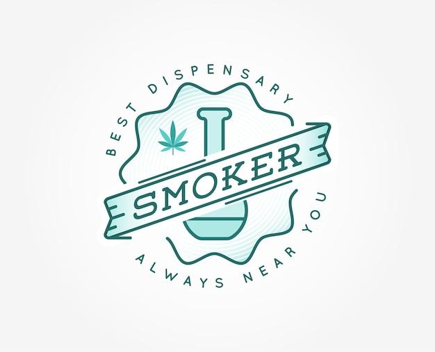 Медицинский знак марихуаны каннабиса или шаблон этикетки в векторе. может использоваться как логотип.