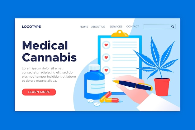Modello web di cannabis medica illustrato