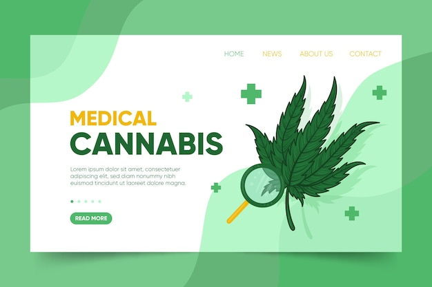 Medical cannabis with magnifying glass landing page